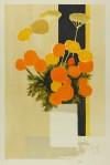ベルナール・カトラン 「黒いテーブルのあるマリーゴールドとノコギリソウ」 Bernard Cathelin