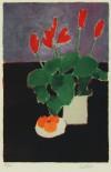ベルナール・カトラン 「黒いテーブルの上の赤いシクラメンと柿のある静物」 Bernard Cathelin